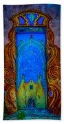 Colourful Doorway Art On Adobe House Bath Towel