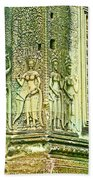 Columns And Hindu Devatas At Angkor Wat In Angkor Wat Archeological Park Near Siem Reap-cambodia Bath Towel
