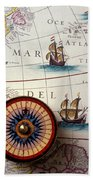 Compass And Old Map With Ships Bath Towel