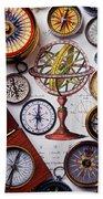 Compasses And Globe Illustration Hand Towel
