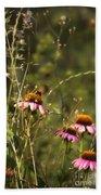 Coneflowers Weeds And Bee Bath Towel