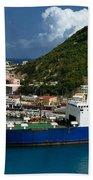 Container Ship St Maarten Bath Towel