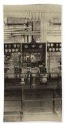 Control Board Engine Room Queen Mary Ocean Liner Long Beach Ca Heirloom Bath Towel