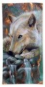 Copper Arctic Wolf Hand Towel by Sandi Baker