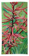 Coral Bean Flowers Hand Towel
