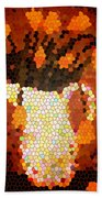 Coral Tulips In Stained Glass Bath Towel