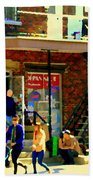 Corner Laurier Marche Maboule Depanneur Summer Stroll With Baby Carriage Montreal Street Scene Bath Towel