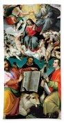 Coronation Of The Virgin With Saints Luke Dominic And John The Evangelist Bath Towel