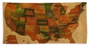 Corporate America Map Bath Towel