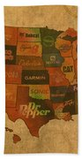 Corporate America Map Bath Towel