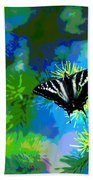 Cosmic Butterfly In The Pines Bath Towel