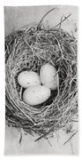 Cottage Bird's Nest In Black And White Bath Towel