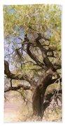 Cottonwood Tree Digital Painting Bath Towel
