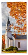 Country Church Under Fall Colors Bath Towel