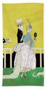 Couple At The Races, 1916 Bath Towel