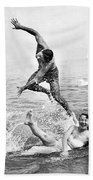 Couple Frolics In The Surf Hand Towel by Underwood Archives
