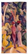 Couple On The Forest Track Bath Towel