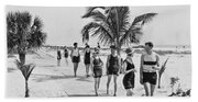 Couples Strolling Along The Pathway On The Beach. Bath Towel