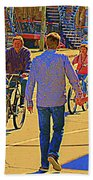 Couples Summer In The City Walking Biking Strolling With Baby Carriage Art Of Montreal Street Scene Bath Towel