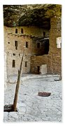 Courtyard Of Spruce Tree House On Chapin Mesa In Mesa Verde National Park-colorado  Bath Towel