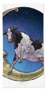 Cow And Moon Bath Towel
