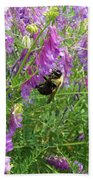 Cow Vetch Wildflowers And Bumble Bee Bath Towel