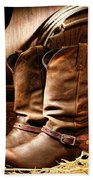 Cowboy Boots In  A Ranch Barn Bath Towel
