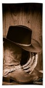 Cowboy Hat And Boots Hand Towel by Olivier Le Queinec