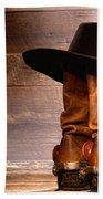 Cowboy Hat On Boots Bath Towel