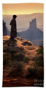 Cowboy On A Cliff Bath Towel