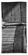 Cowboy Themed Wood Barrel And Spur In Black And White Bath Towel