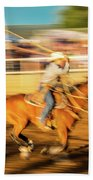 Cowboys Ride And Rope Cattle During San Bath Towel