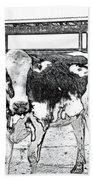 Cows Pencil Sketch Bath Towel