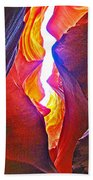 Crack Between Two Worlds In Lower Antelope Canyon In Lake Powell Navajo Tribal Park-arizona Bath Towel