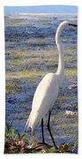 Crane At Pond Bath Towel