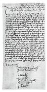 Cranmer Declaration, 1537 Hand Towel
