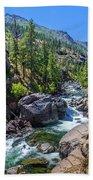 Creek Flowing Through Rocks, Icicle Bath Towel
