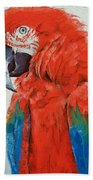 Crimson Macaw Bath Towel