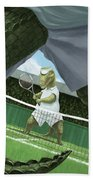 Crocodiles Playing Tennis At Wimbledon  Bath Towel