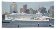 Cruise Ship On The Hudson Bath Towel