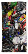 Cubist Photographic Composition Of Totem Poles Bath Towel