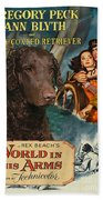 Curly Coated Retriever Art - The World In His Arms Movie Poster Bath Towel