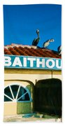 Customers At The Baitshop Bath Towel