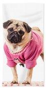 Cute Pug Wearing Sweater Bath Towel
