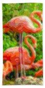 Cutout Layer Art Animal Portrait Flamingo Bath Towel