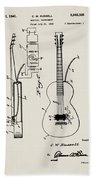 Cw Russell Acoustic Electric Guitar Patent 1939 Bath Towel
