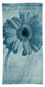 Cyanotype Gerbera Hybrida With Textures Bath Towel