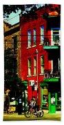 Cyclists Crossing Rue Clark Corner Wilensky Spring Street Scene Montreal Art Carole Spandau Bath Towel