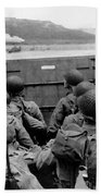 D-day Soldiers In A Higgins Boat  Bath Towel