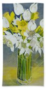 Daffodils And White Tulips In An Octagonal Glass Vase Bath Towel